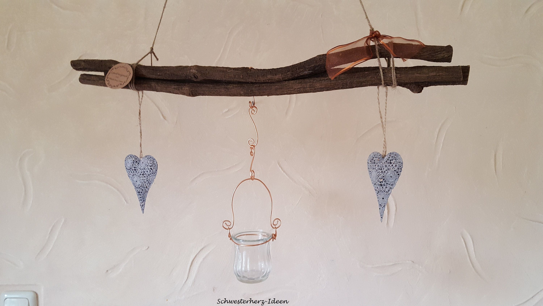 Kupferfarbene Dekoration.Romantic Vintage Window Decoration Hearts With Tea Light