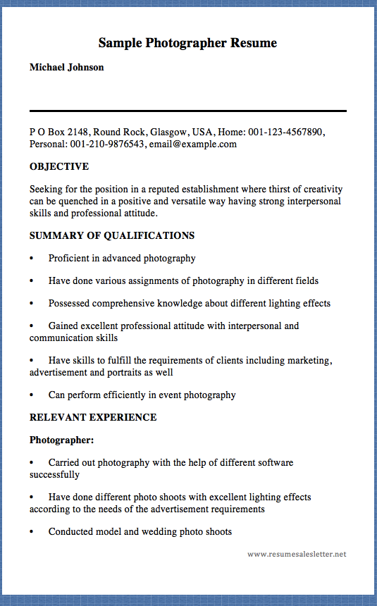 Sample Photographer Resume Michael Johnson P O Box  Round
