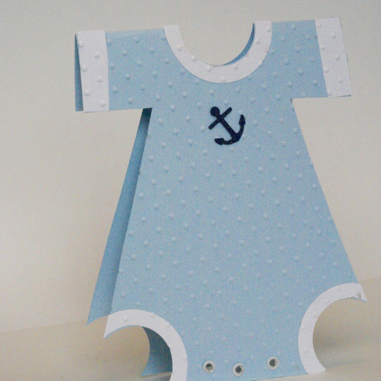 Baby Boy Card Handmade New Baby Onesie Card Blue Birth Gift Card