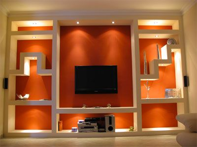 Parete Porta Tv Cartongesso.Libreria In Cartongesso Con Incasso Tv E Luci Led
