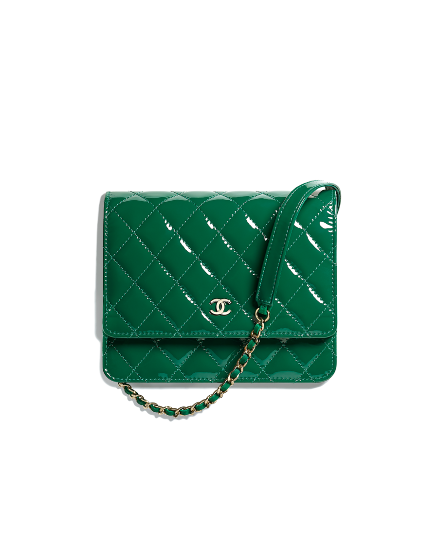 b4d2184e9d61c4 Classic wallet on chain, patent calfskin & gold-tone metal-green - CHANEL