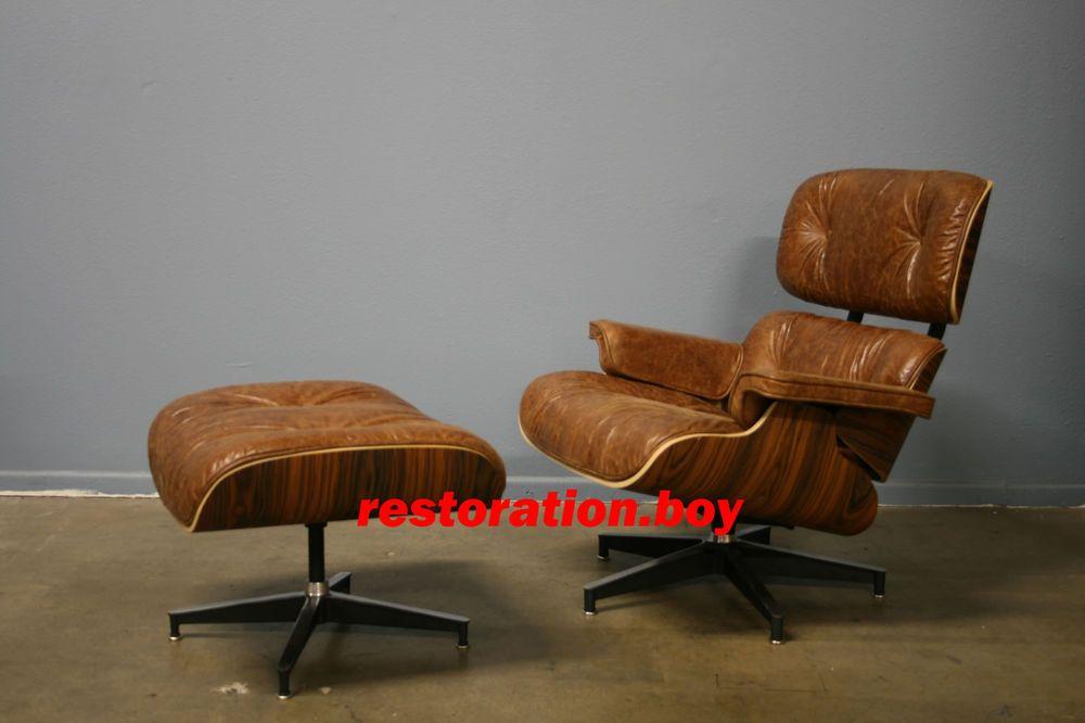 Rare Mcm Restoration Hardware Style Vintage Cigar Leather Eames
