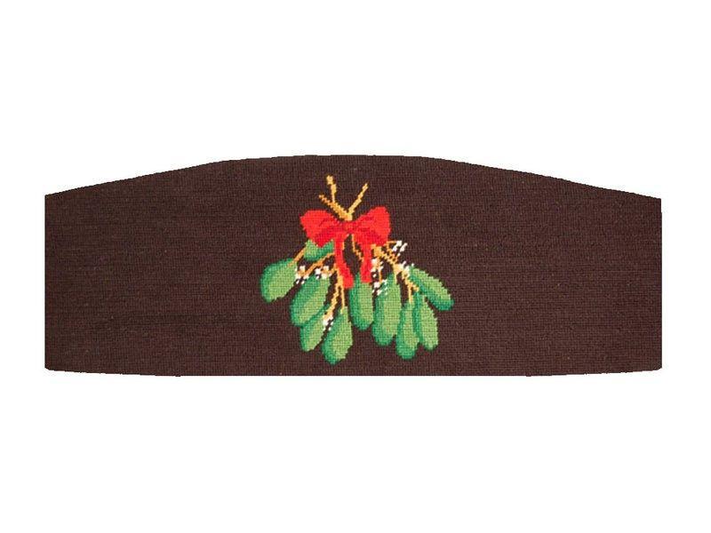 Mistletoe Needlepoint Cummerbund in Black by Smathers and