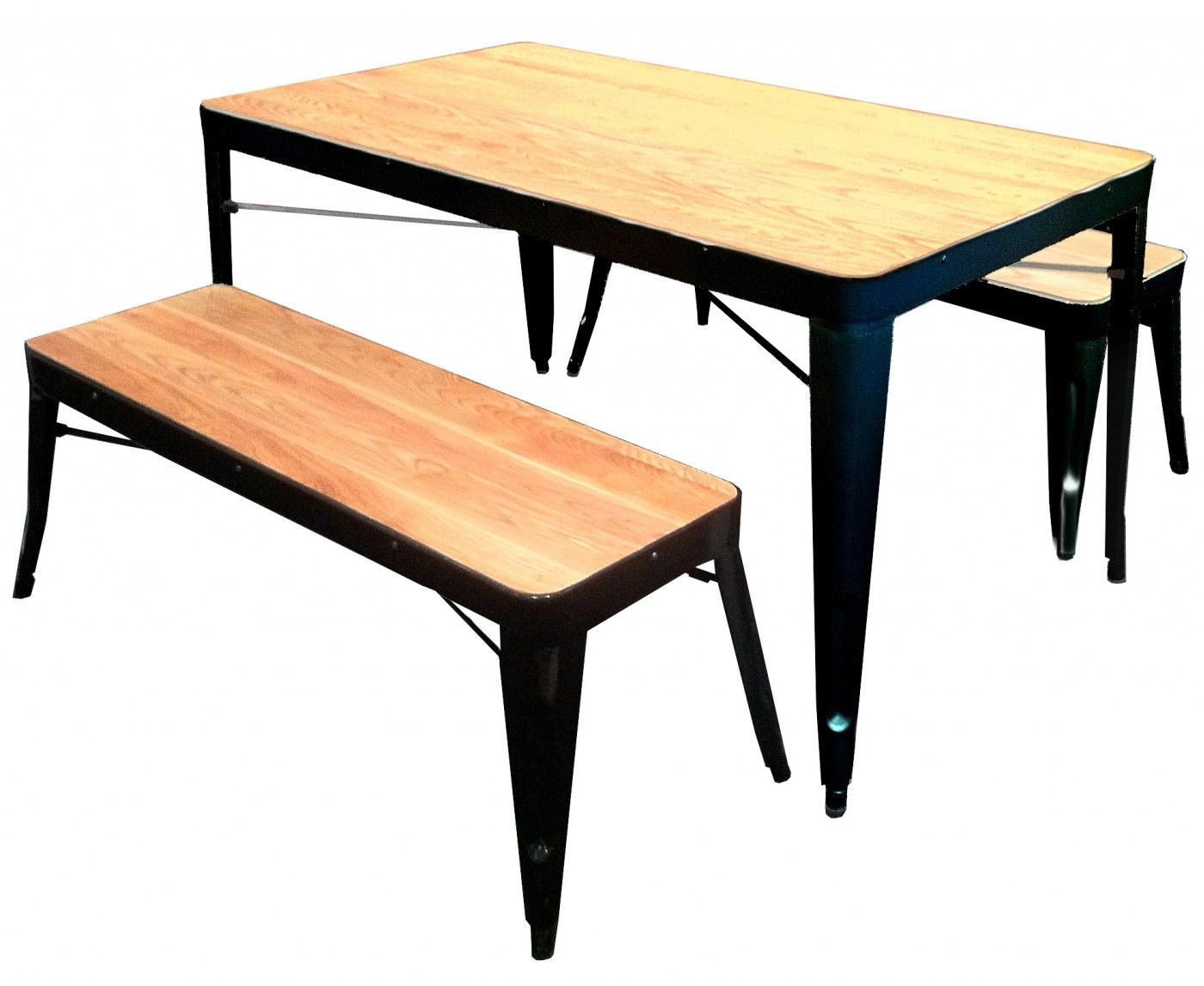 tolix 20table 20and 20benches 202 20black 20copy dining table