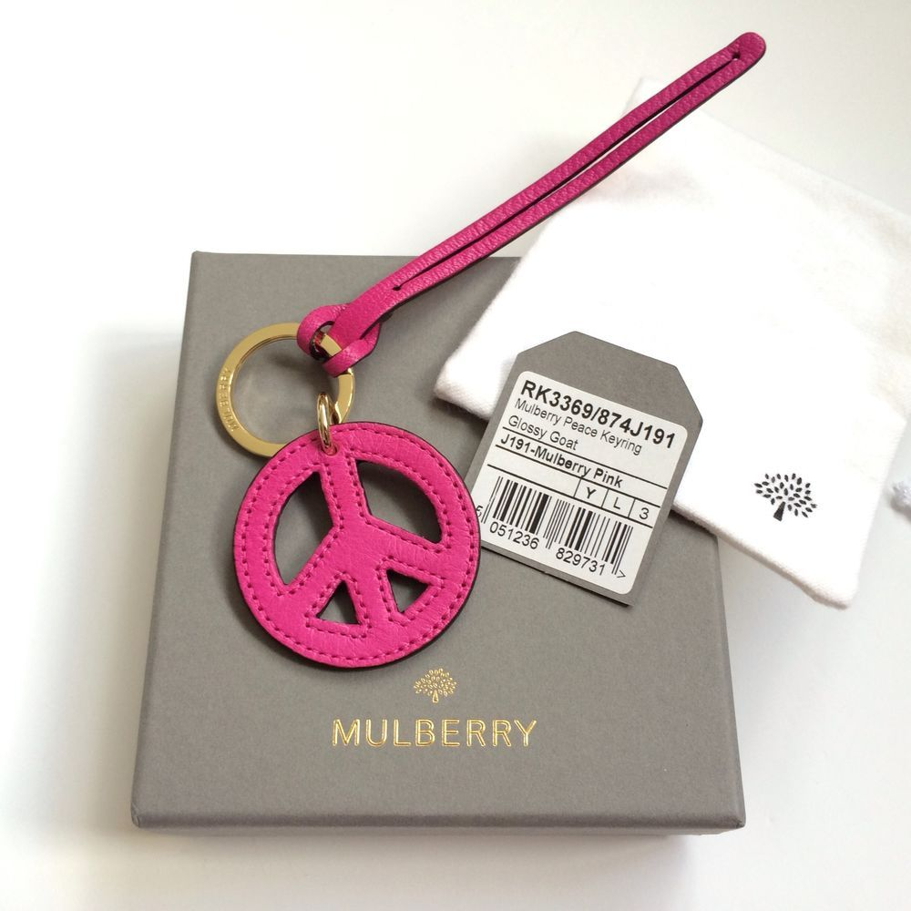 Genuine MULBERRY Peace Friendship Pink Leather Keyring Dust Bag Bayswater Charm in Clothes, Shoes & Accessories, Women's Accessories, Keyrings | eBay