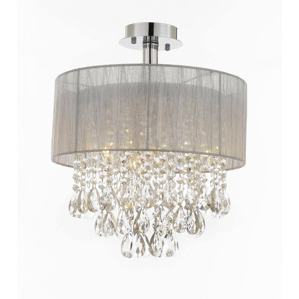 Contemporary 4 Light Silver And Crystal Flush Mount T1 1002 The Home Depot Ceiling Lights Flush Mount Chandelier Crystal Chandelier