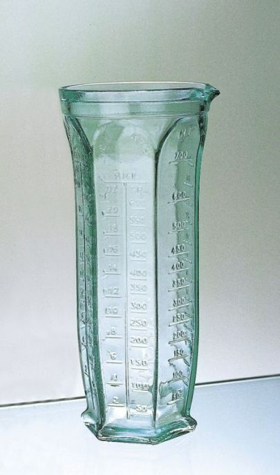 Tall 6 Sided Green Glass Measuring Jug Provides Units For