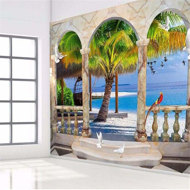 photo wallpaper high quality 3d painting sea palm beach roman tv