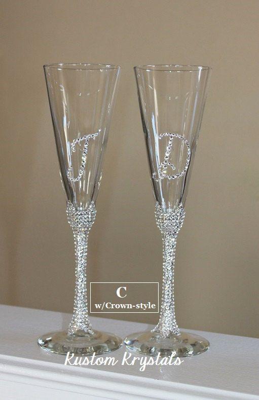 19d3fd1b53 Swarovski Crystal embellished toasting flutes, toasting glasses, champagne  flutes. custom. STEM W/ INITIALS