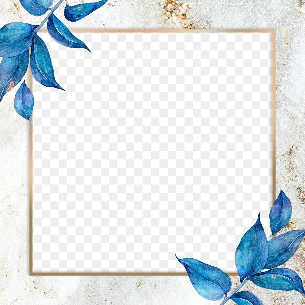 Blue Flower And Gold Frame Png In Watercolor Free Image By Rawpixel Com Adj Flower Frame Png Flower Illustration Flower Frame