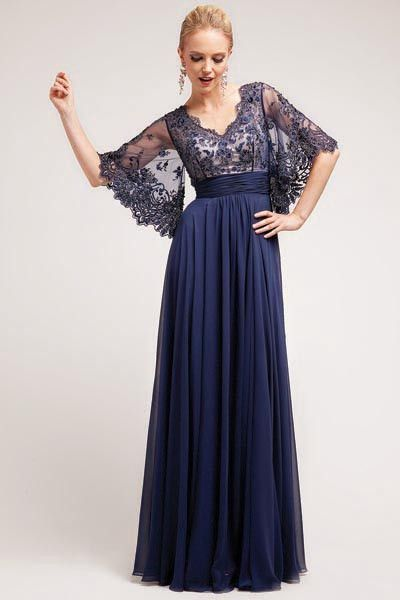2d6fa662d3a 17-3095 PRIMA Lace Chiffon Bell Sleeve Mother of Bride Dress Evening Gown  Stunning evening gown with a lace top and romantic BOHO chic bell or kimono  ...