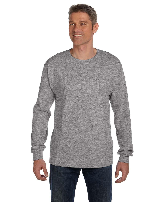 195110f17f4eb1 Hanes Men's 6.1 oz. Tagless® Long-Sleeve Pocket T-Shirt 5596 LIGHT STEEL
