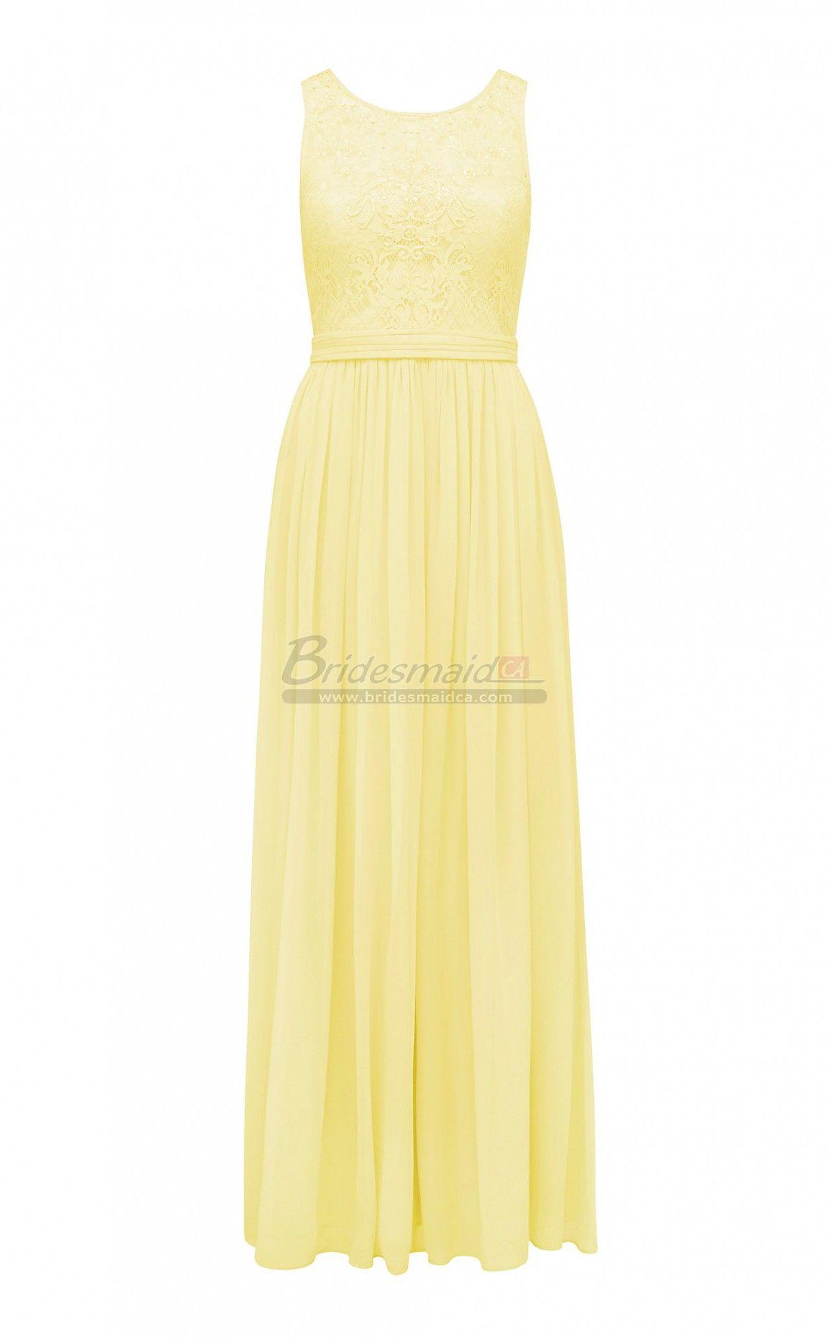 Bridesmaid jewel neck chiffon and lace long yellow vintage