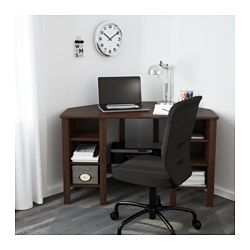 Brusali Corner Desk Brown 47 1 4x28 3 4 Ikea Small Corner Desk Corner Desk Bedroom Desk