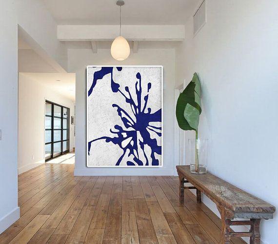 Bleu et blanc peinture abstraite sur les fleurs toile for Tableau minimaliste