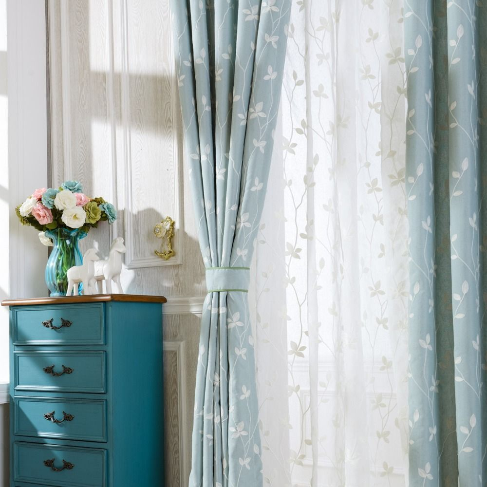 How To Make Curtain Lights Slow Soul Cotton Embroidered Curtains Light Blue White Leaves