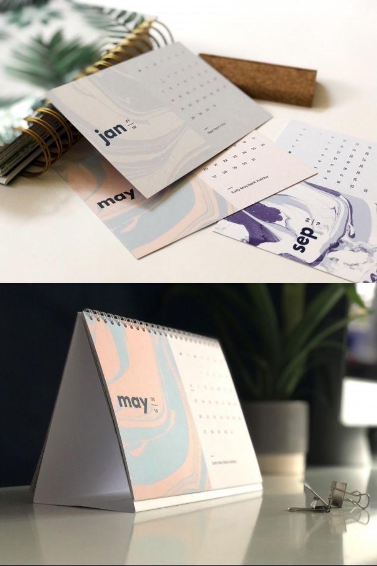 2020 Desk Calendar, Hand Marbled, A5 Modern Calendar