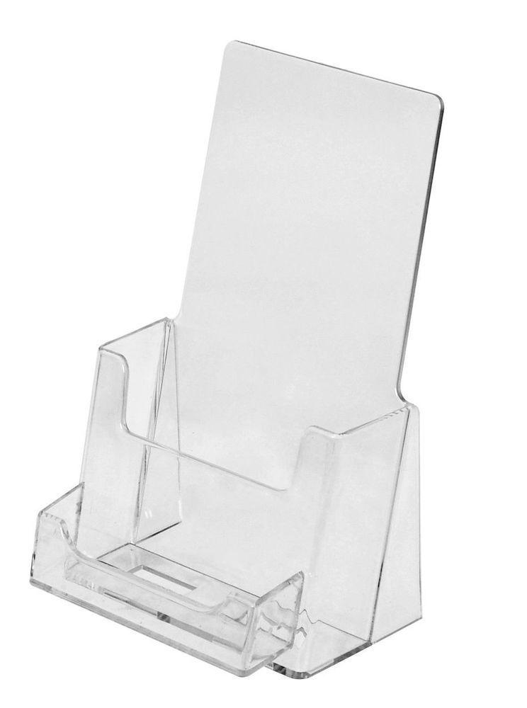 Qty 100 CLEAR TRI FOLD BROCHURE & BUSINESS CARD HOLDERS | Tri fold ...