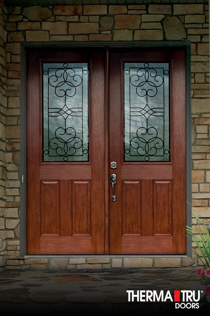Therma tru fiber classic mahogany collection doors with for Therma tru entry doors