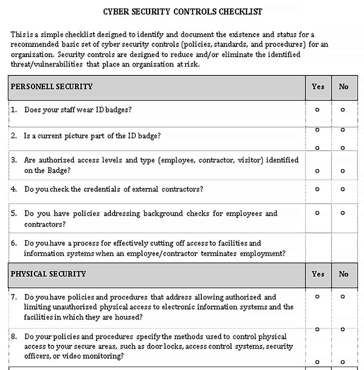 Security Assessment Checklist Template in 2020 Checklist