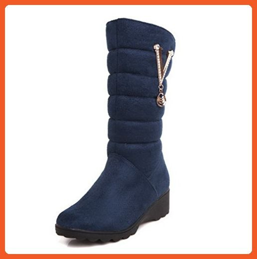 Women's Imitated Suede Mid-Top Solid Pull-on Low-Heels Snow-Boots