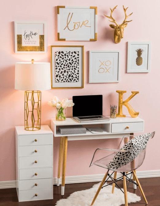 Best Computer Desk Desk Computerdesk Deskdecor Habitacion White Gold Bedroom Gold Bedroom Blush Bedroom Decor