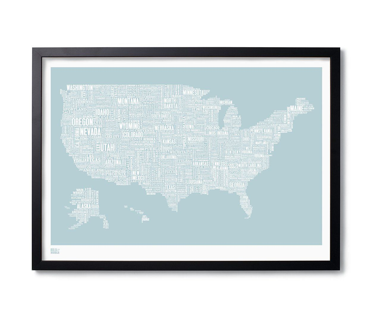 USA\' Type Map Print in Duck Egg Blue | Type Maps and Wordle ...