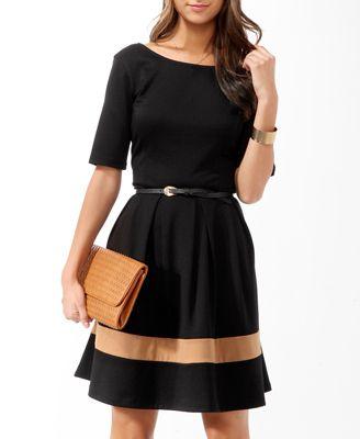 Forever 21 Essential Colorblocked Dress w/Belt $19.80