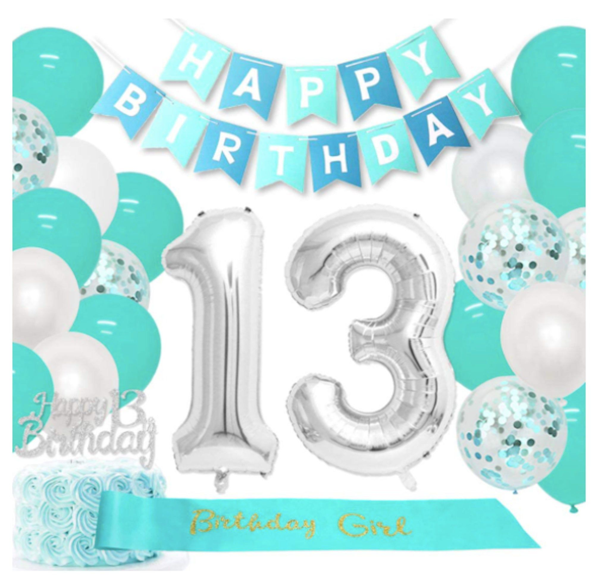 Teal 13th Birthday Decorations Girls Teal 13 Birthday Party Etsy In 2021 Happy 13th Birthday Girl Birthday Decorations 13th Birthday Parties