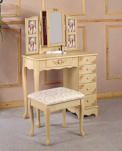 Vanity Table Set in Ivory - Coaster   [Polo's] Furniture