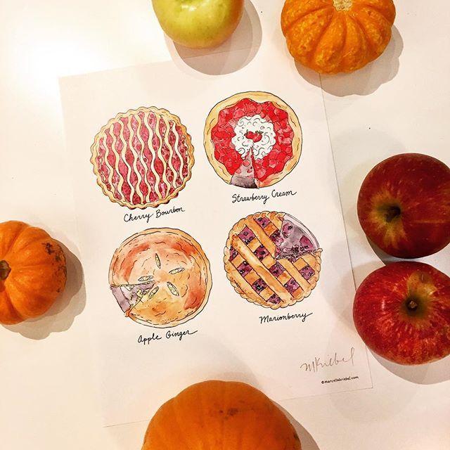 Pie, Illustrated Watercolor Art Print