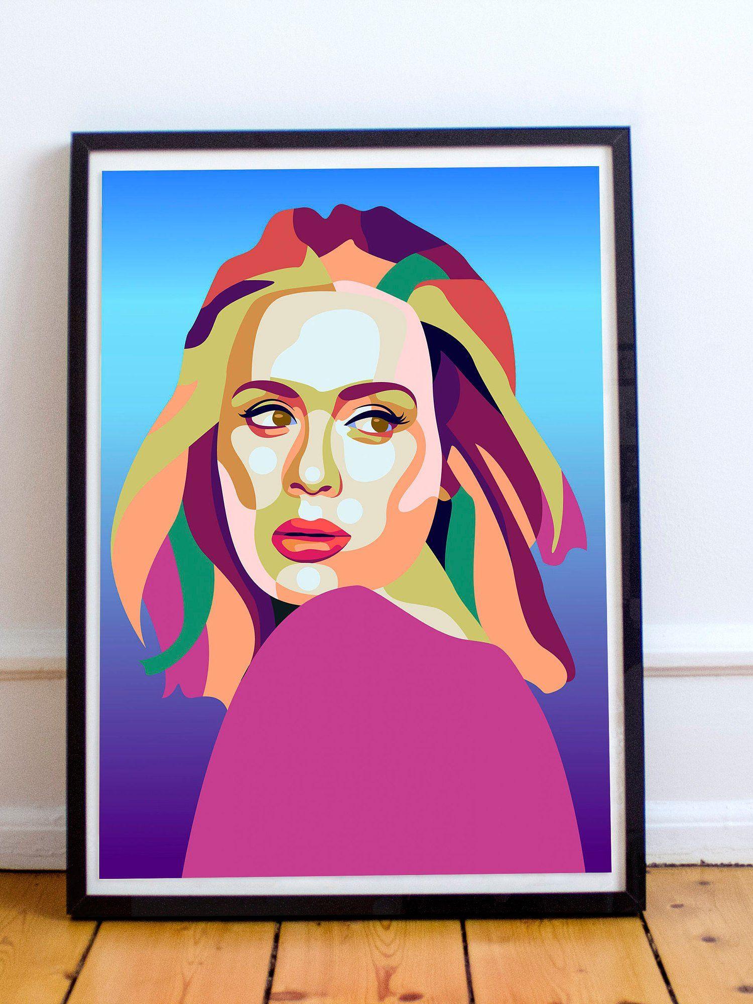 New Adele Inspired Pop Art A3 Music Poster 11 X17 Music Icon Fan Art Wall Art