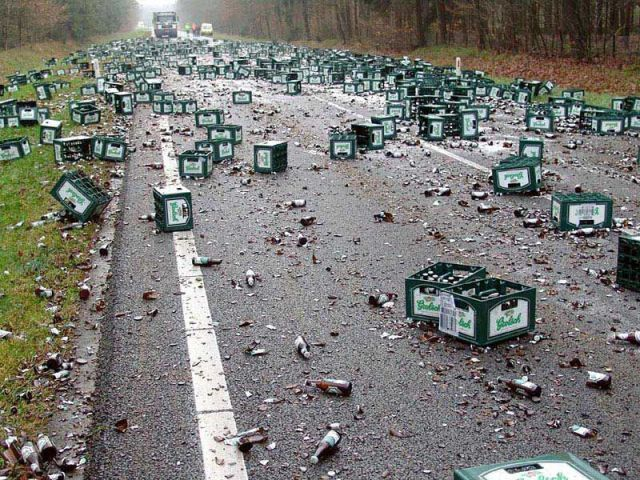 truck-accident... such a tragedy... so much beer lost...
