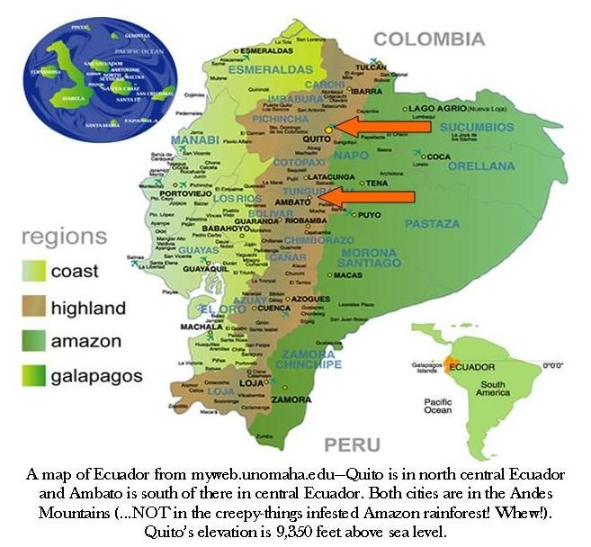 Map Of Ecuador From Mywebunomahaedu Quito Is In North - Andes mountains map