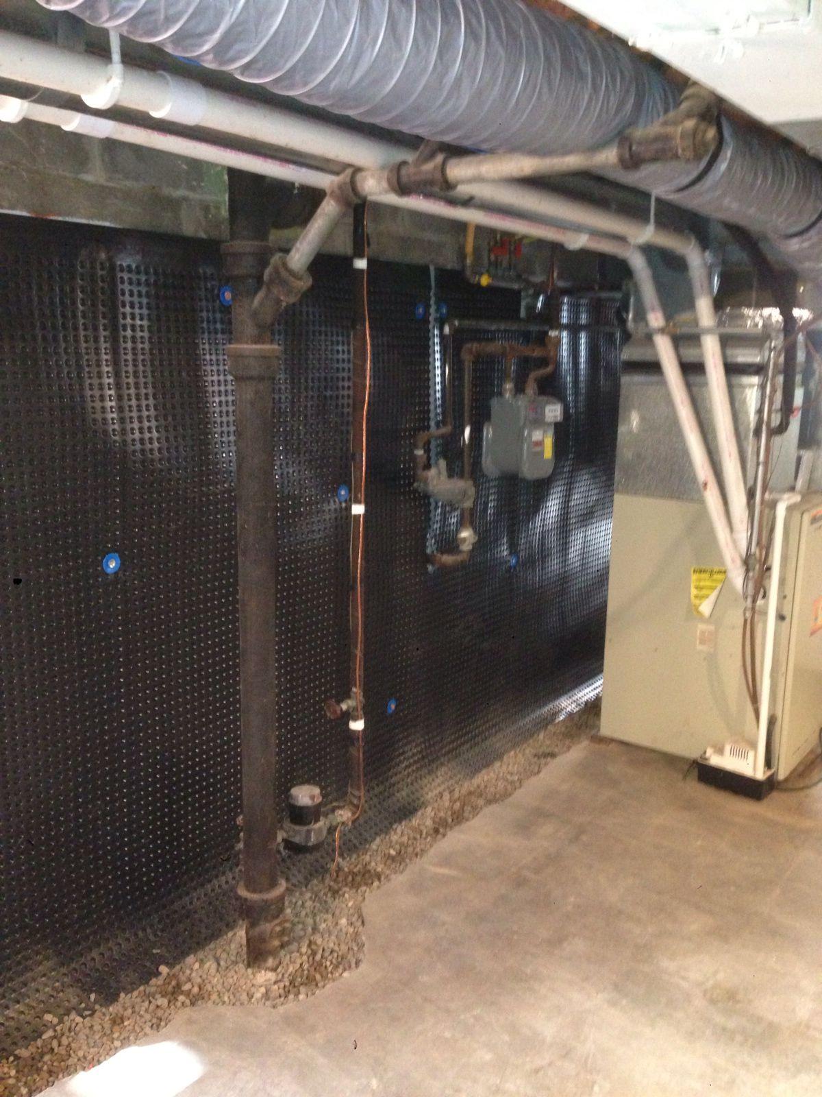 Interior Drain Tile Systems Dimple Up The Wall To Grade Affordable Egress Windows Basement Wate Cheap Basement Ideas Waterproofing Basement Basement Design
