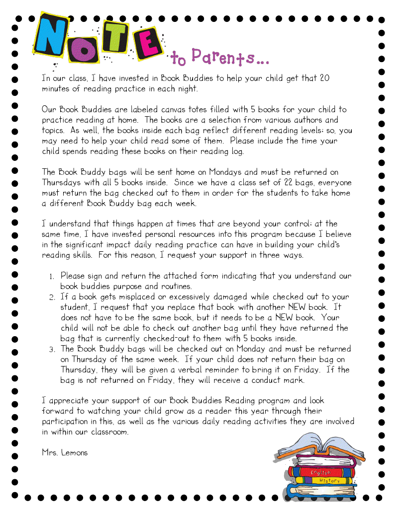 Step into 2nd grade with mrs lemons book buddies language arts take home bag resources book buddies letter to parents and other printables aljukfo Images