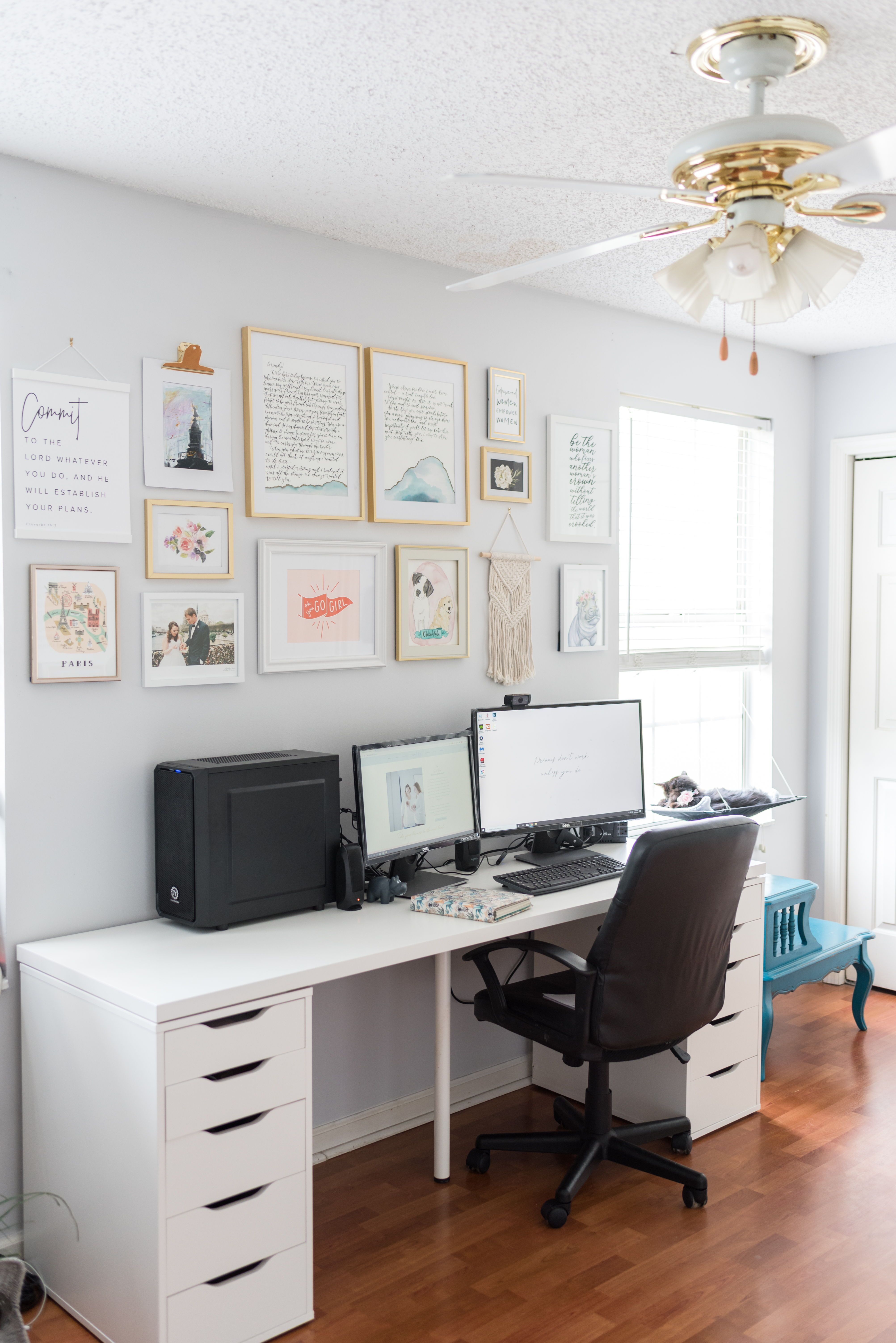 Work From Home Office Ideas For Women White Ikea Desk And Colorful Gallery Wall Inspiration In 2020 Ikea White Desk White Office Desk Ikea Ikea Desk
