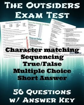 The outsiders final test with answer key final test language arts the outsiders final test with answer key fandeluxe Choice Image