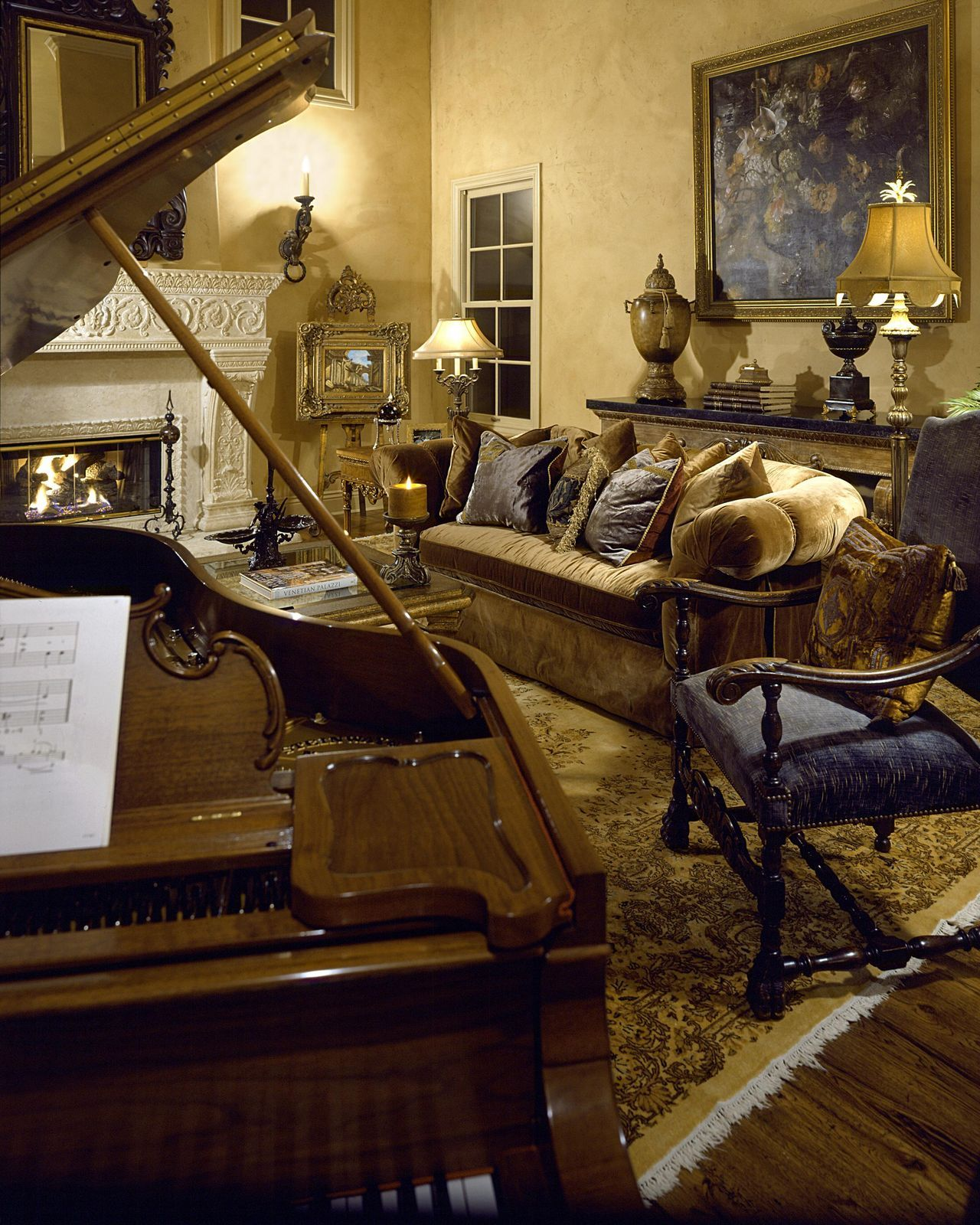 Living Room Natural Tuscan Living Room Tuscan Living: BEAUTIFUL ANTIQUE PIANO IN TUSCAN LIVING ROOM.