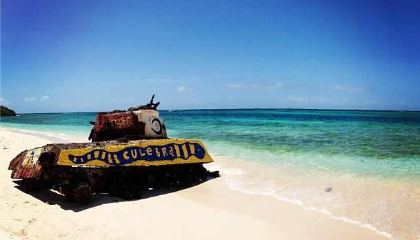 Old #tank left on the beach of #Culebra, #PuertoRico - used to go #camping & #snorkeling here #caribbean #islands #bermudatriangle