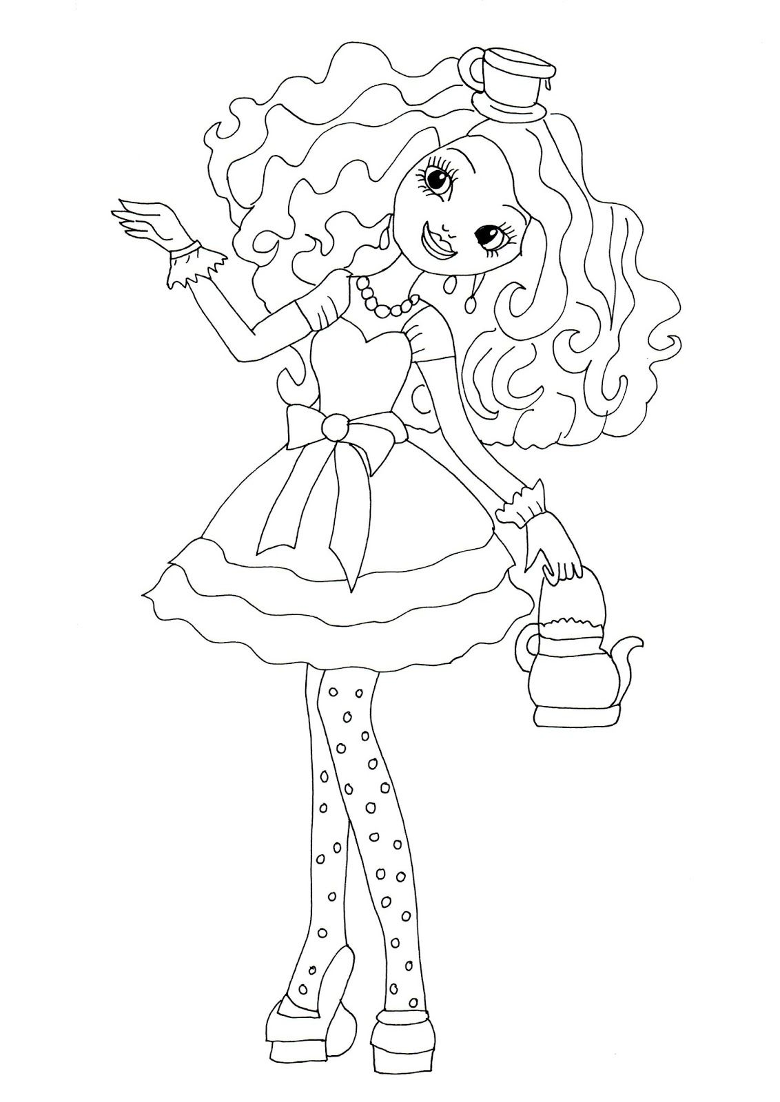 Printable coloring pages ever after high - Free Printable Ever After High Coloring Pages Madeline Hatter Ever After High Coloring Page