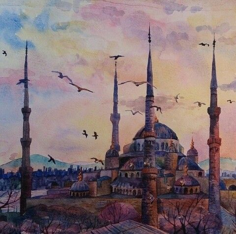 Amazing watercolor♥ Istanbul mosque ♥
