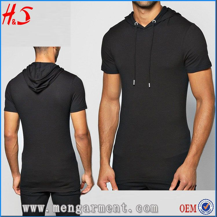 225997bf5 Muscle Fit Hooded T Shirt China Manufacturer Wholesale Black Blank T-Shirts