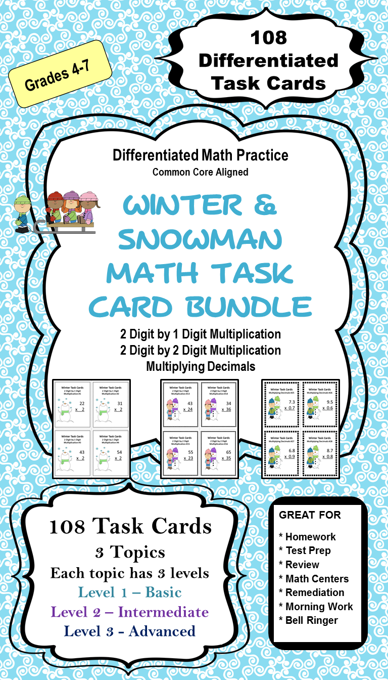 Winter Math Task Card Bundle (Differentiated) | Multiplying decimals ...