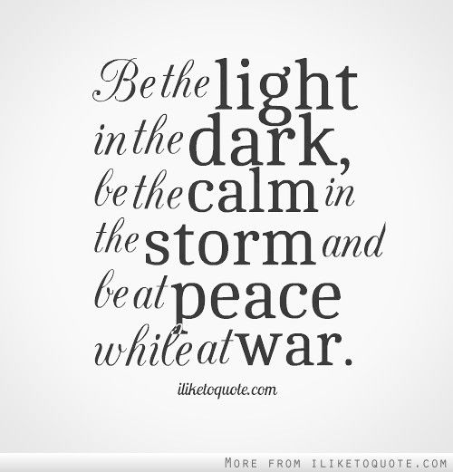 Light And Dark Quotes Endearing Be The Light In The Dark Be The Calm In The Storm And Be At Peace