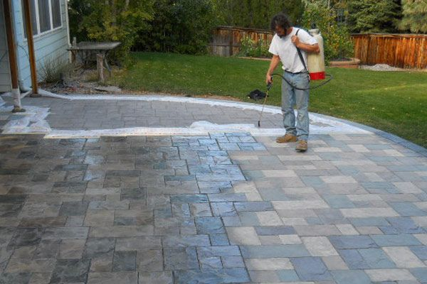 High Quality Hand Stained Patio With Stamped Concrete Littleton CO