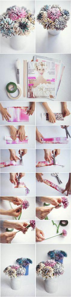 Faça você mesma - Flores com papel de revista