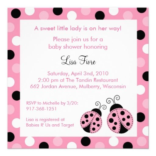 pink ladybug dots baby shower invitations babies showers and shower