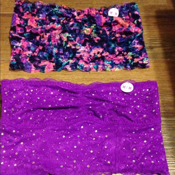 Victoria's Secret PINK bandeaus Victoria's Secret Lace bandeaus. Both size medium. One floral and one purple. Brand new with tags. PINK Victoria's Secret Intimates & Sleepwear Bandeaus