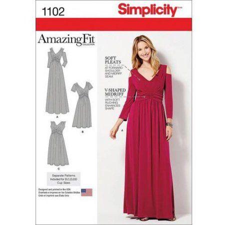 Simplicity Misses & Plus Size Amazing Fit Dress In Knit, 10-12-14-16 ...